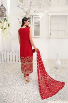 Umang by Blanche Fashion Embroidered Chiffon Unstitched 3 Piece Suit Garnet BU-01