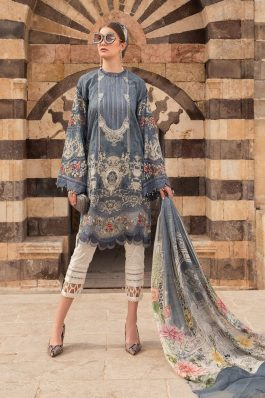 Maria B Embroidered Lawn Unstitched 3Piece Suit D-2115-B