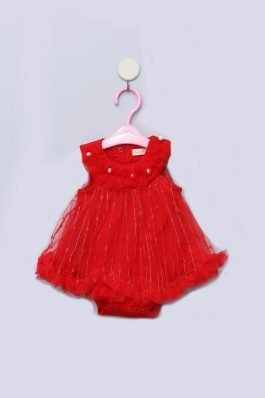 New Born Baby Romper Frock D-91260 Red