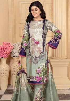 Heavy Embroidered Lawn 3pc With Print Dooria Dupatta 1045b pista
